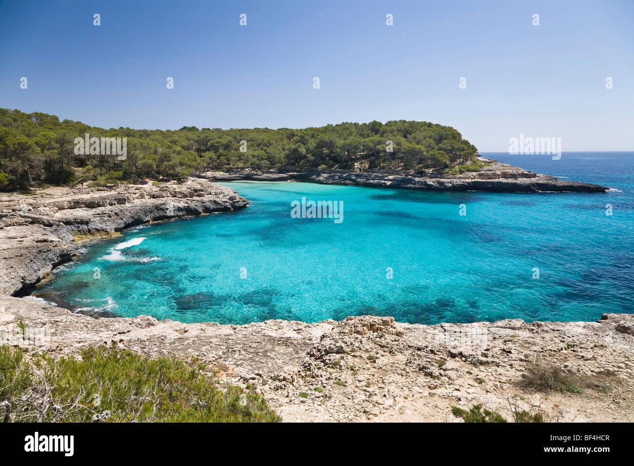 Caló des Burgit in the Cala Mondragó bay, natural park of Mondragó, Mallorca, Majorca, Balearic Islands, - Stock Image