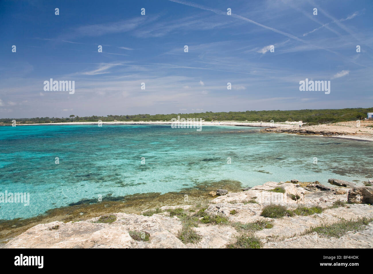 Beach Platja d'es Caragol, Mallorca, Majorca, Balearic Islands, Mediterranean Sea, Spain, Europe - Stock Image