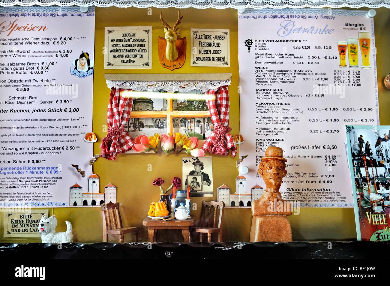 Food and drink menus, Valentin Karlstadt Musaeum on Isartor gate, Munich, Bavaria, Germany, Europe - Stock Image