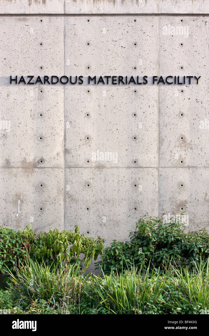 Identifying lettering on the side of the hazardous materials facility of UC Berkeley. - Stock Image