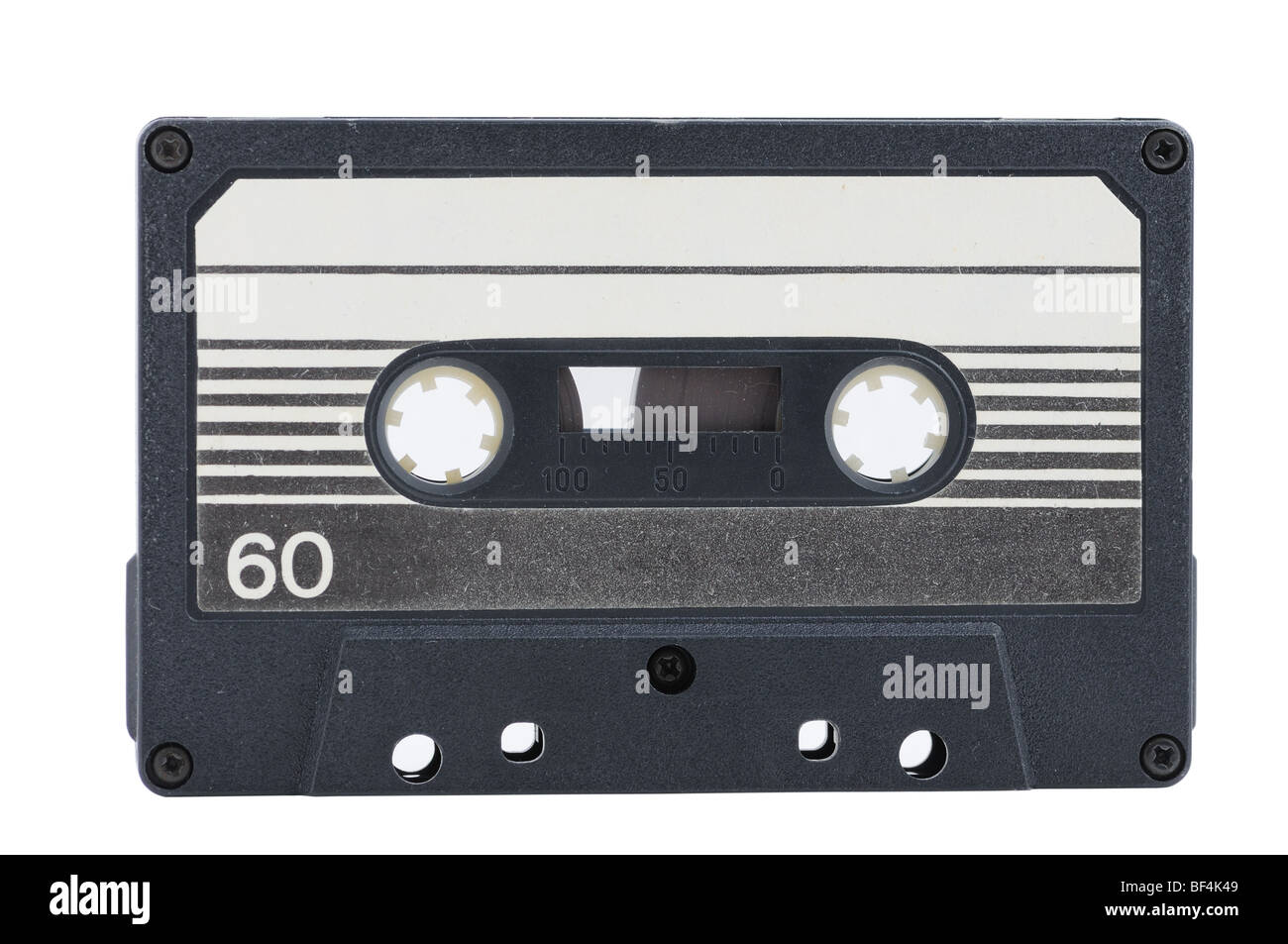 Audio cassette isolated on white background - Stock Image
