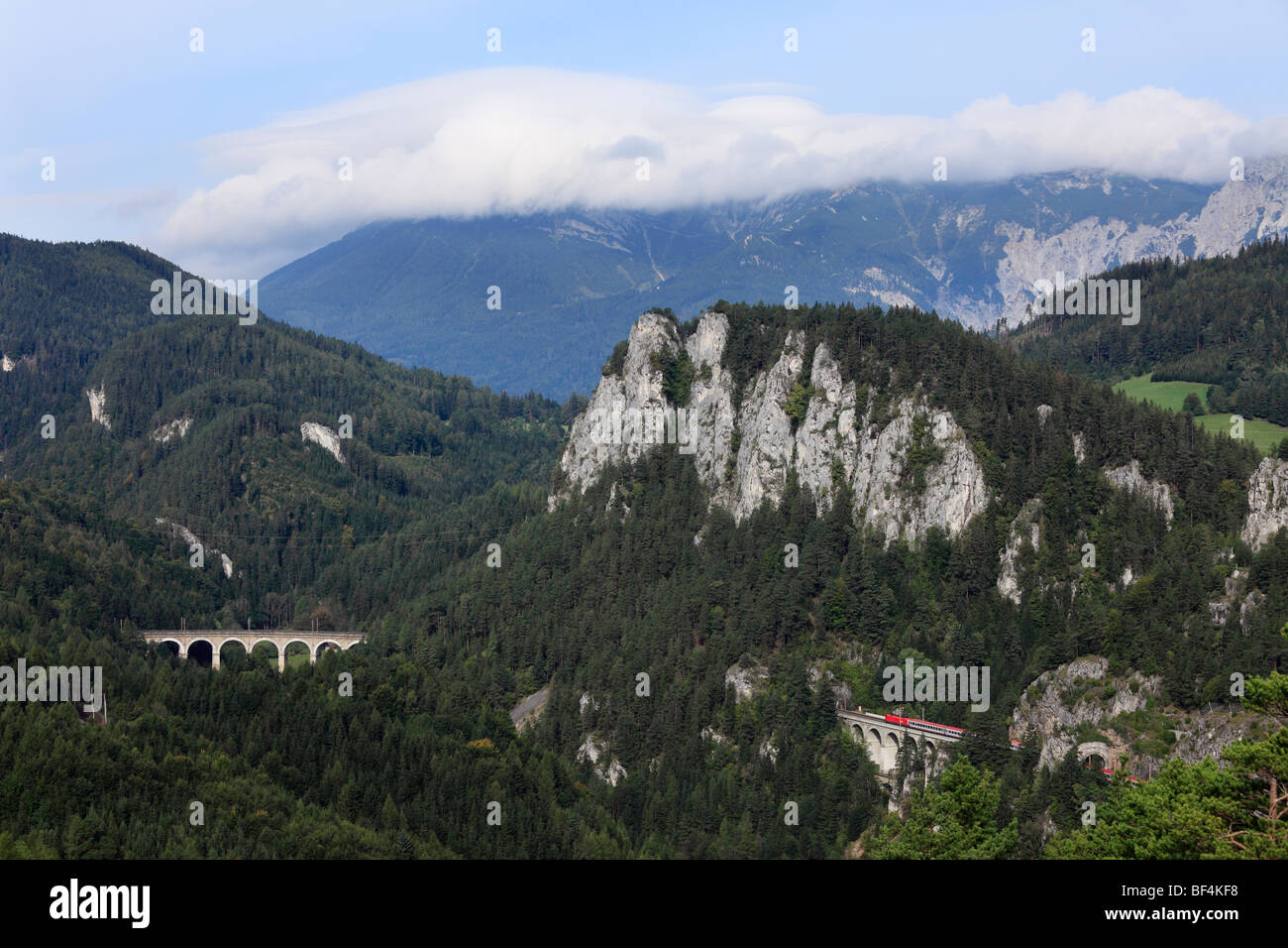 Semmering Railway, view from the 20-Schilling-Blick lookout, in the clouds, Rax Mountain, Semmering, Lower Austria, - Stock Image