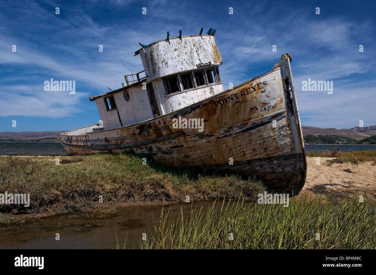 Stranded wreck of the 'Point Reyes' near Inverness, California, USA - Stock Image