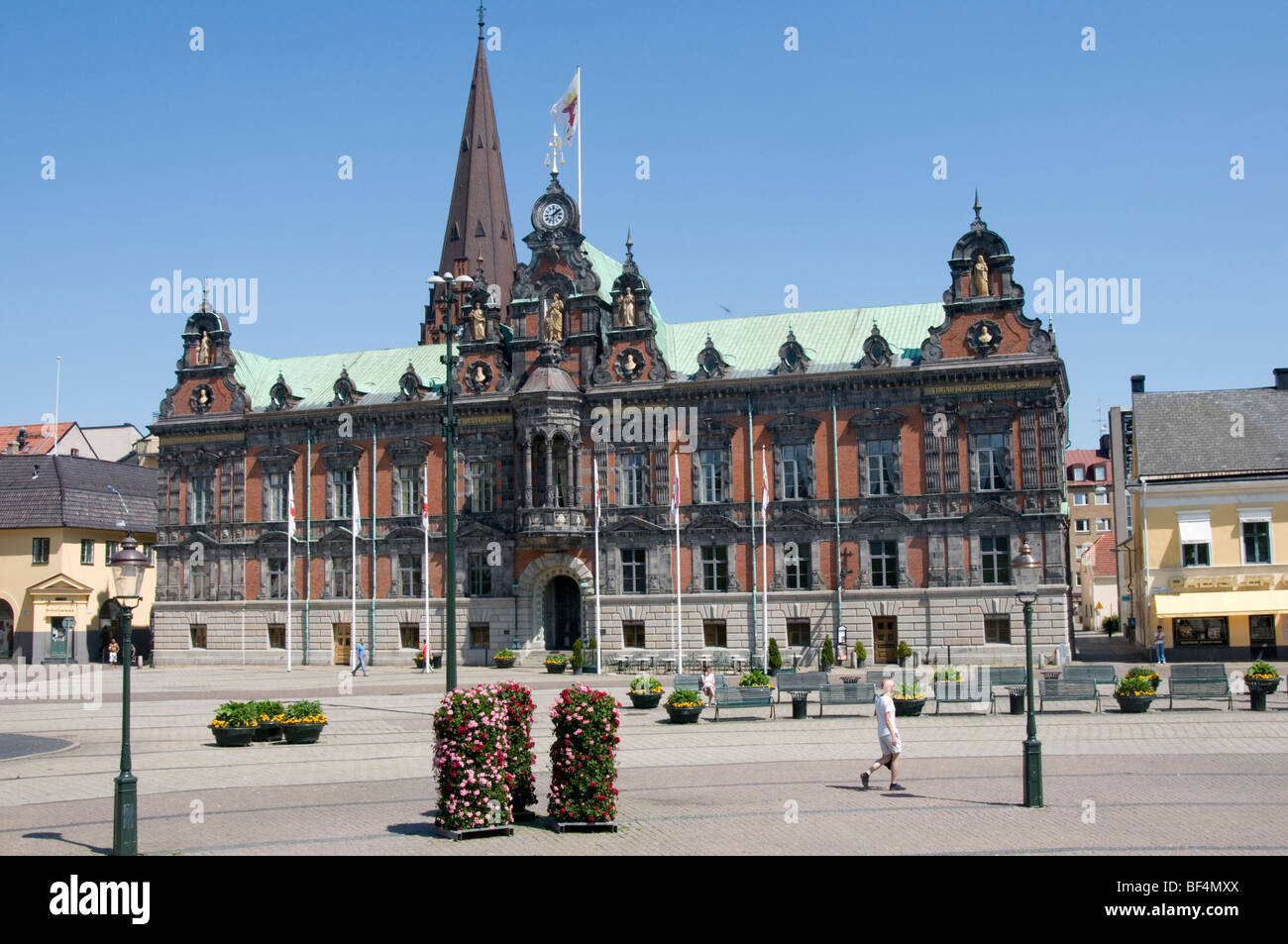 On the east side of Stortorget is the Malmö Town Hall, built in 1546 in Dutch Renaissance style (altered in - Stock Image