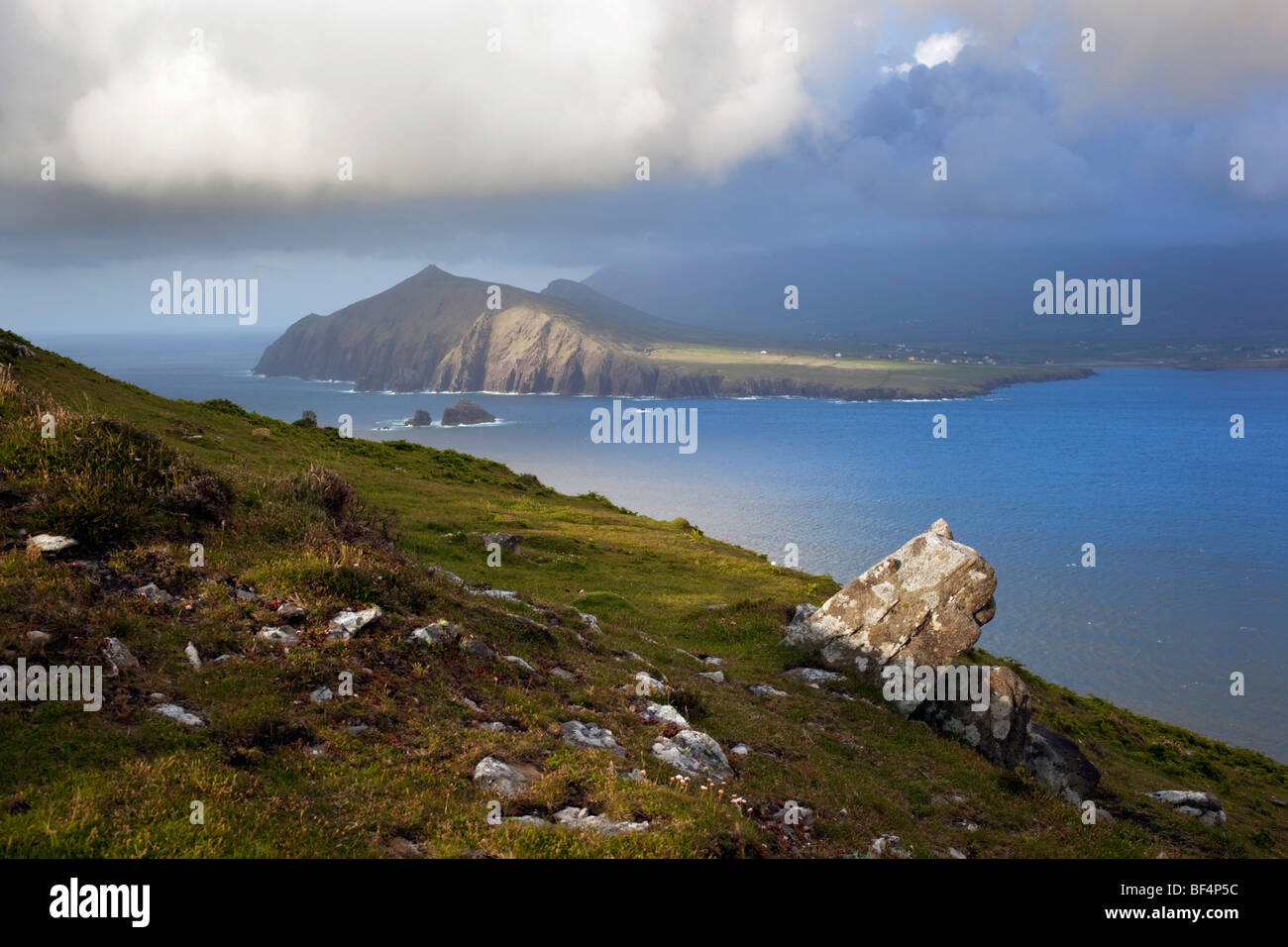 Smerwick harbour; looking toward Mount Brandon; Eire - Stock Image