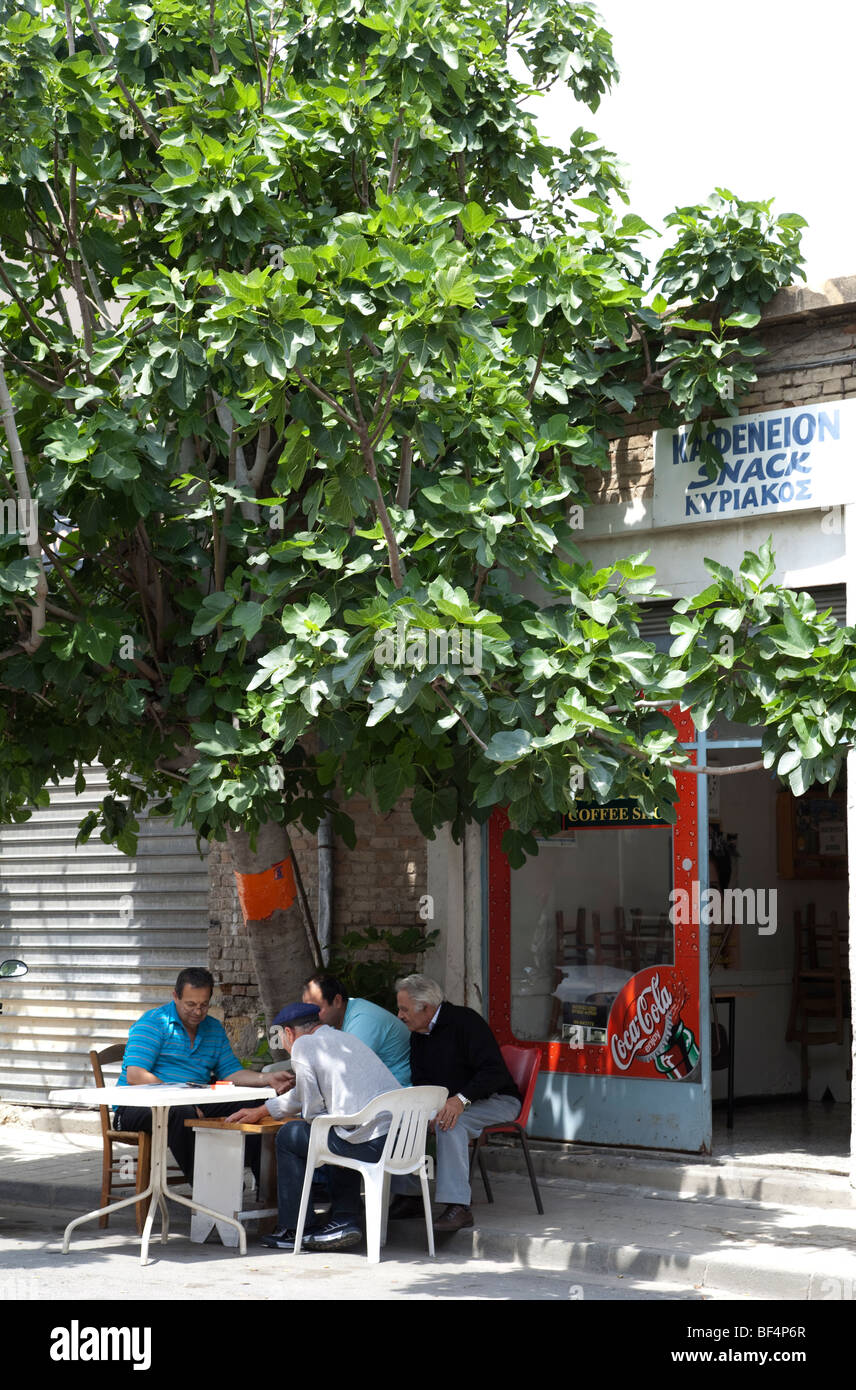 Bar with customers playing games in South Nicosia Cyprus - Stock Image