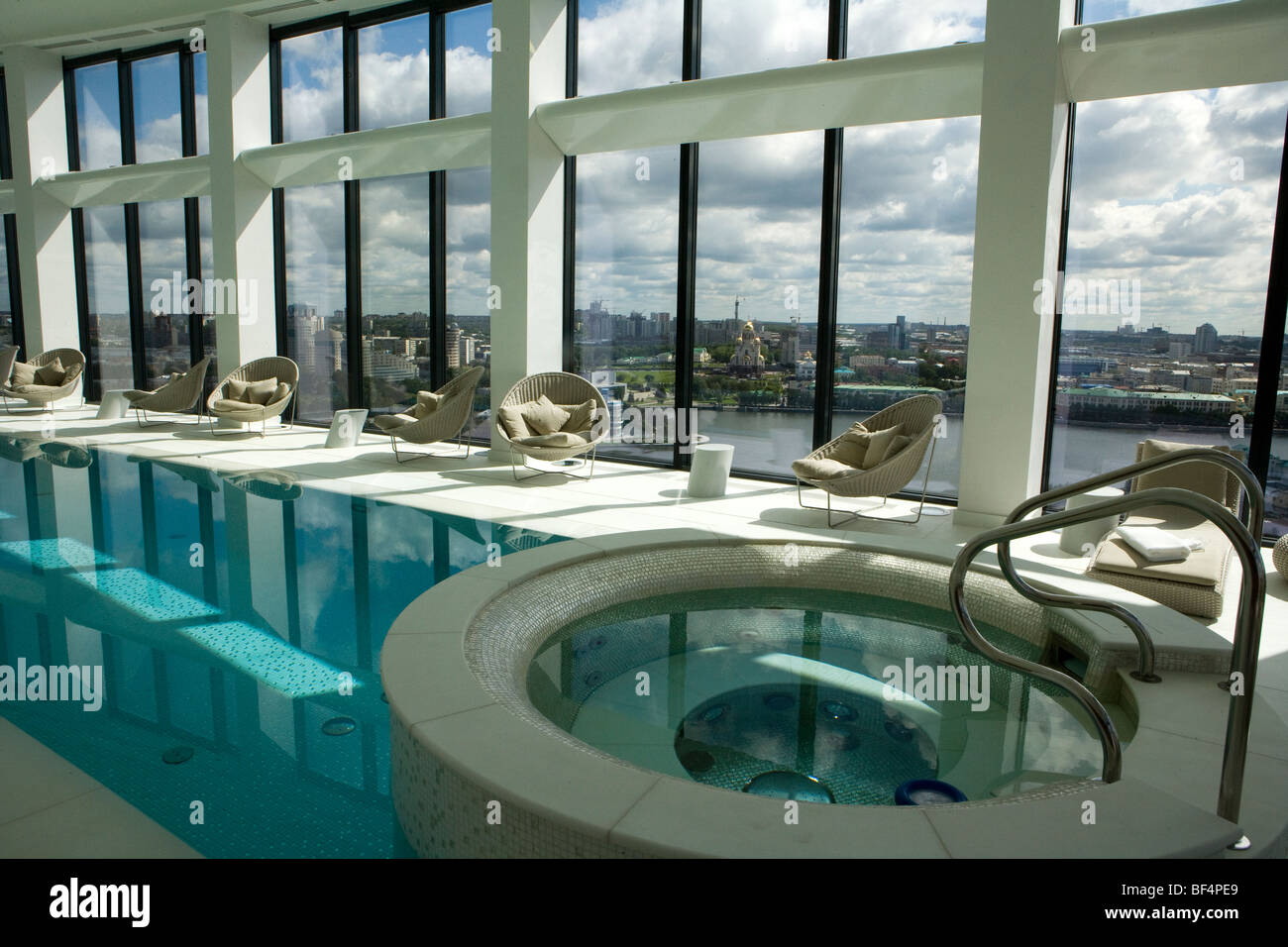 Modern interior with luxury swimming pool jacuzzi and
