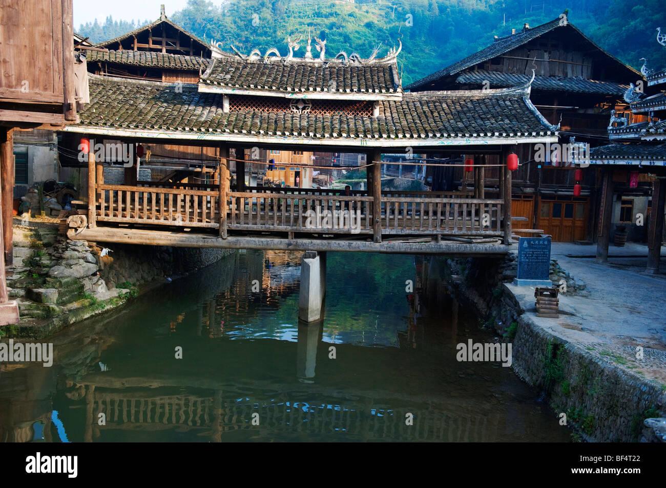 Flower Bridge in Zhaoxing Dong Village, Liping County, Qiandongnan Miao and Dong Autonomous Prefecture, Guizhou Stock Photo