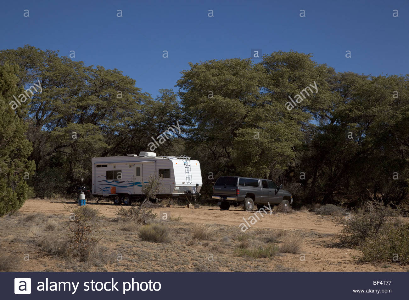 Roughing It Modern Day Hunting Camp Gila National Forest 'New Mexico' - Stock Image