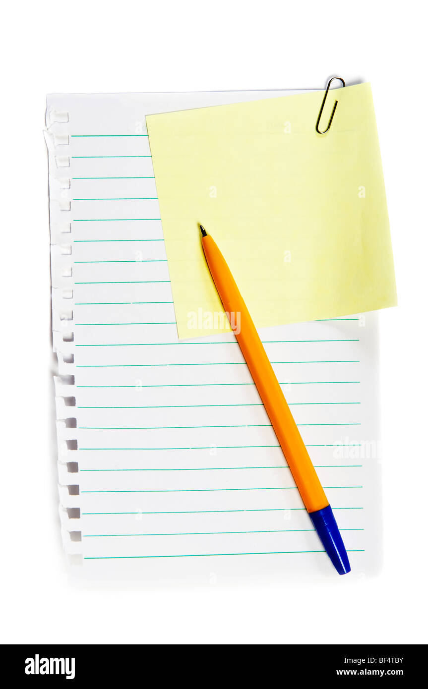 Yellow sticky memo with paper clip, write note on it - Stock Image
