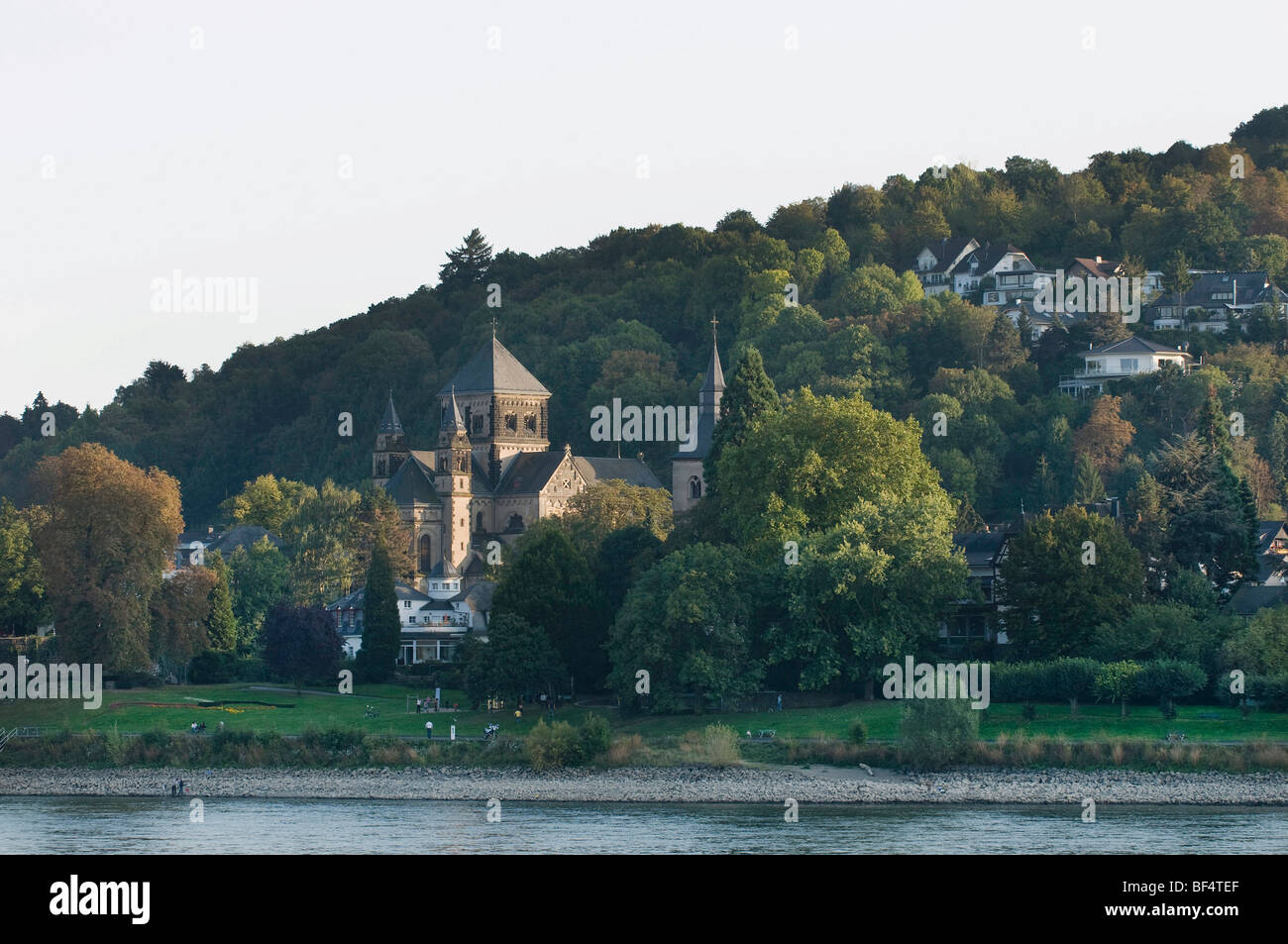 View from the Rhine River to the Parish Church of St. Peter and Paul, Remagen, Rhineland-Palatinate, Germany, Europe - Stock Image