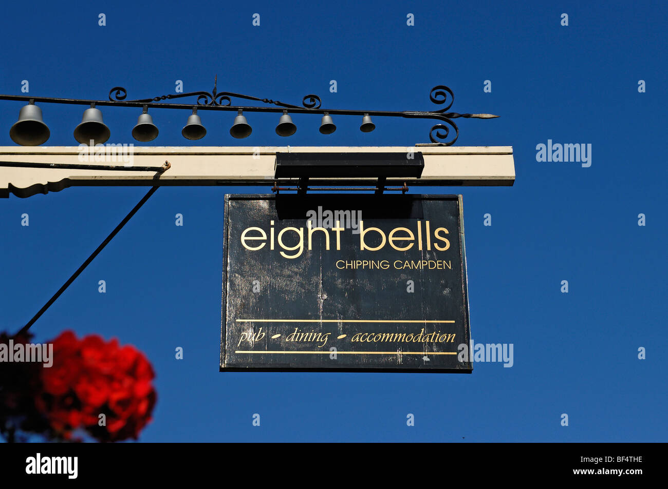 Old pub sign, eight bells, 1700, Church Street, Chipping Campden, Gloucestershire, England, United Kingdom, Europe Stock Photo