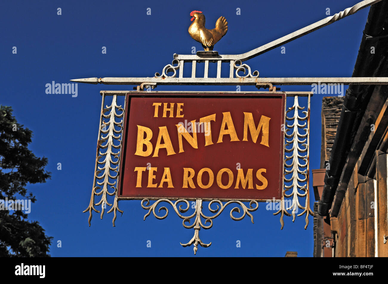 Guesthouse sign, The Bantam Tea Rooms, High Street, Chipping Campden, Gloucestershire, England, United Kingdom, Stock Photo