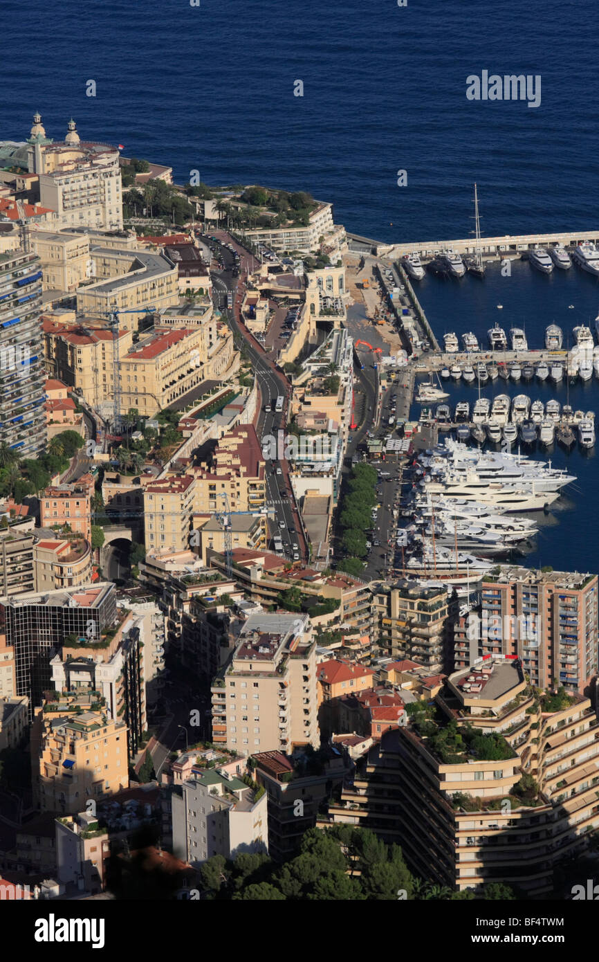 Monte Carlo district with the road leading up to the Casino, the start of the Formula 1 race track, top left, the - Stock Image
