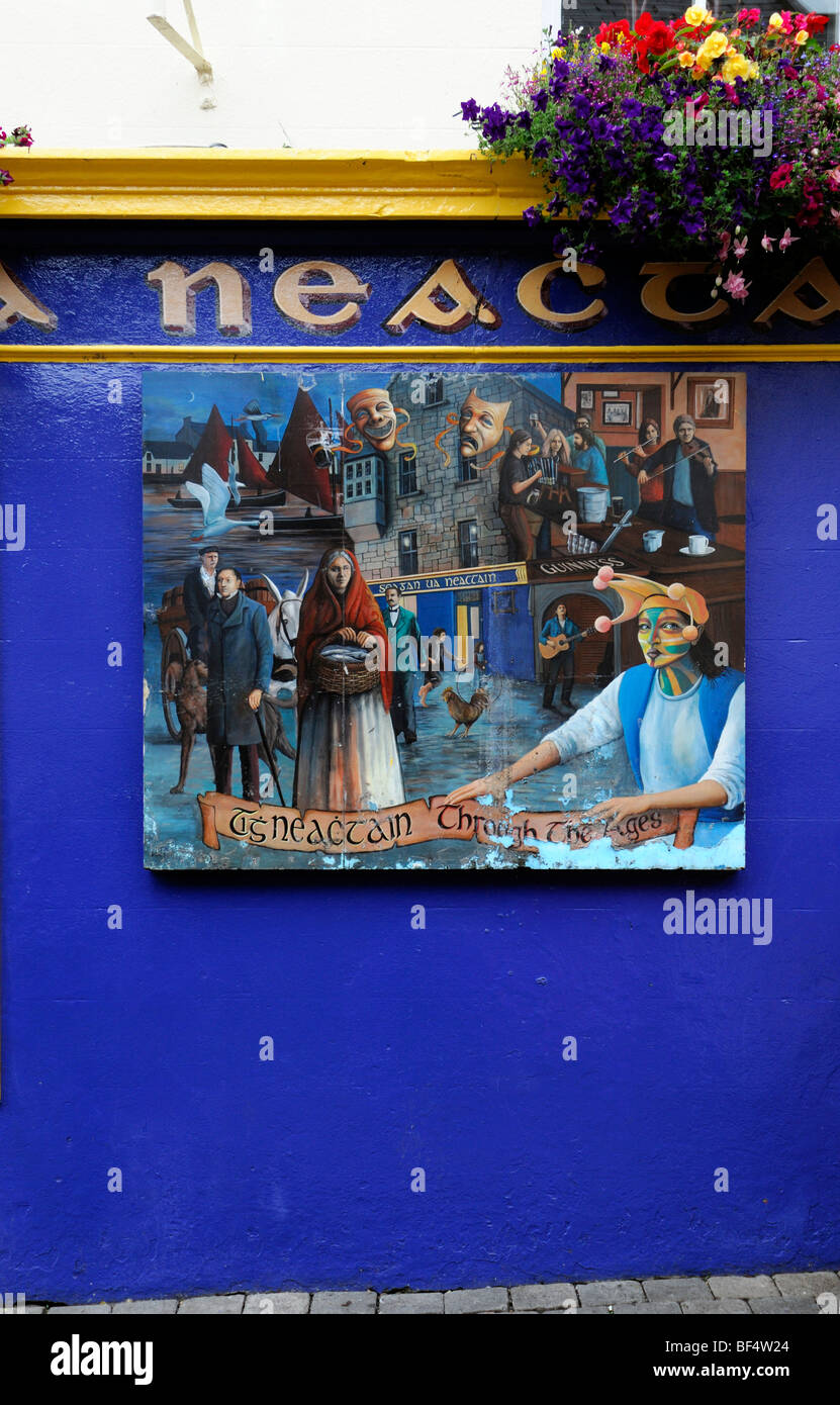 frontal front street frontage view neachtains bar pub licensed premises galway ireland blue closed shut not open - Stock Image