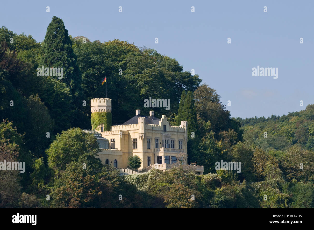 View from the Rhine River to Marienfels Palace, residence of Thomas Gottschalk, Rhineland-Palatinate, Germany, Europe - Stock Image