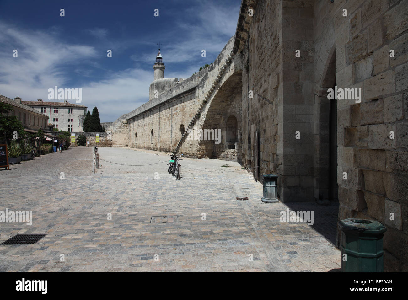 View of the Walls Inside the Medieval Walled Town of Aigues Mortes Camargue France - Stock Image