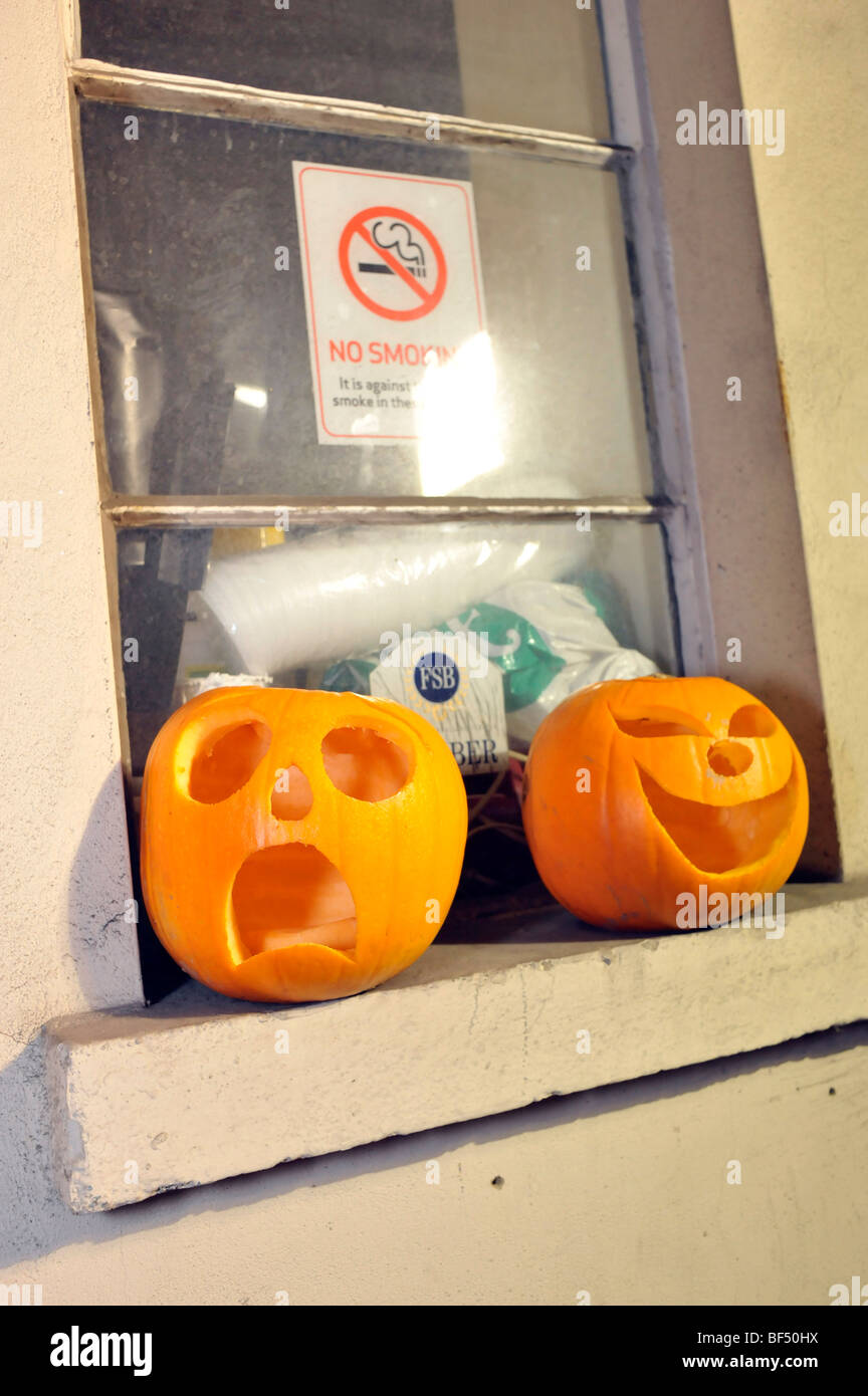 unusual quirky halloween pumpkin expressions - Stock Image