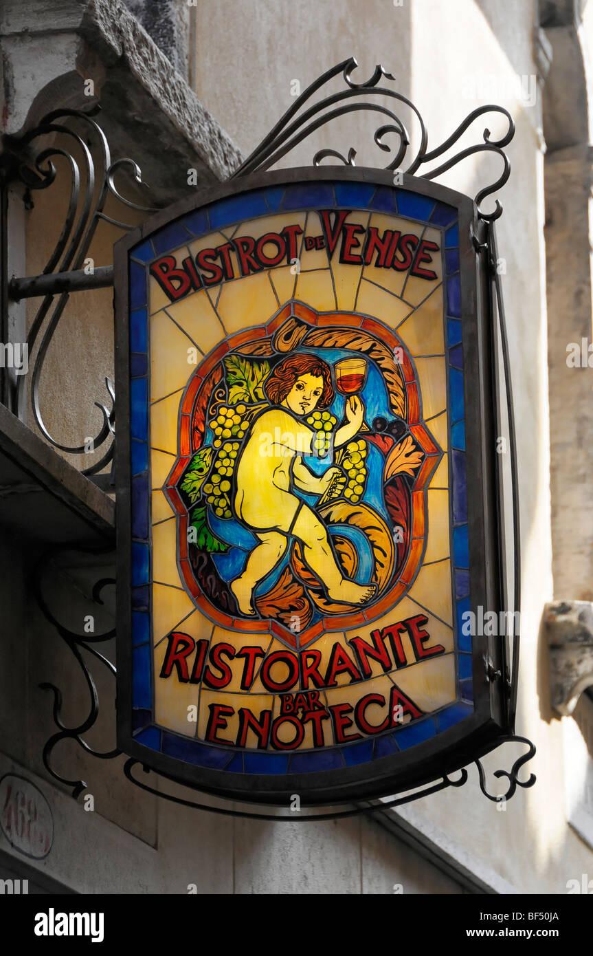 Sign above the entrance door, Bistrot de Venice, Restaurant, Bar, Enoteca, Venice, Veneto, Italy, Europe - Stock Image