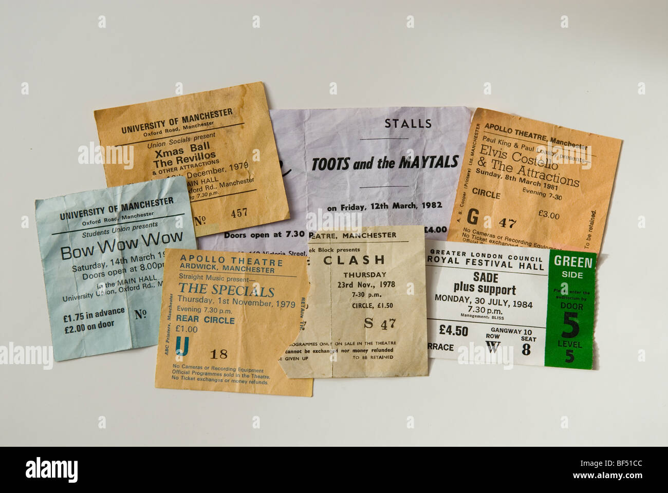 A selection of New Wave concert tickets from various years - Stock Image