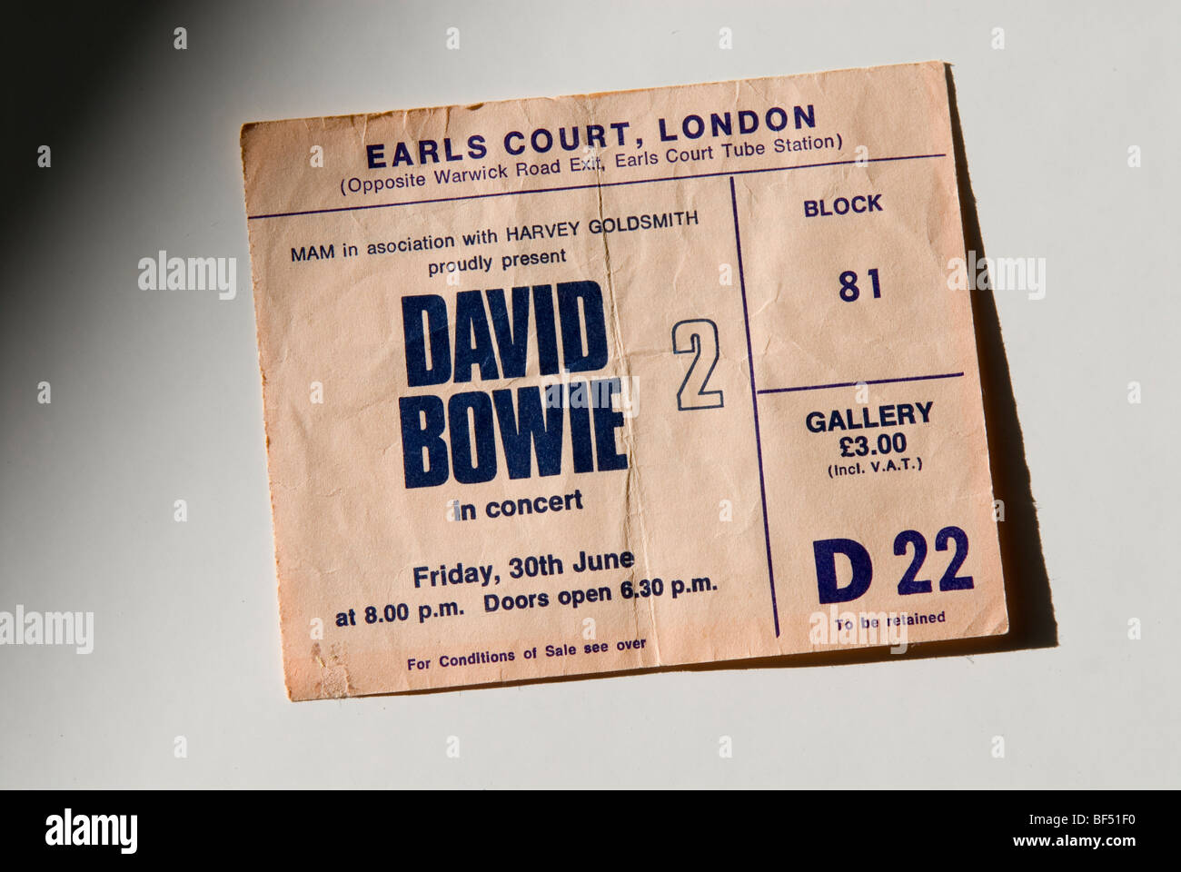 David Bowie concert ticket from 1976 - Stock Image