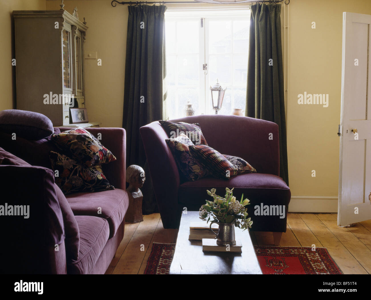 Fantastic Purple Velvet Covered Sofa And Armchair In Small Pale Yellow Pabps2019 Chair Design Images Pabps2019Com