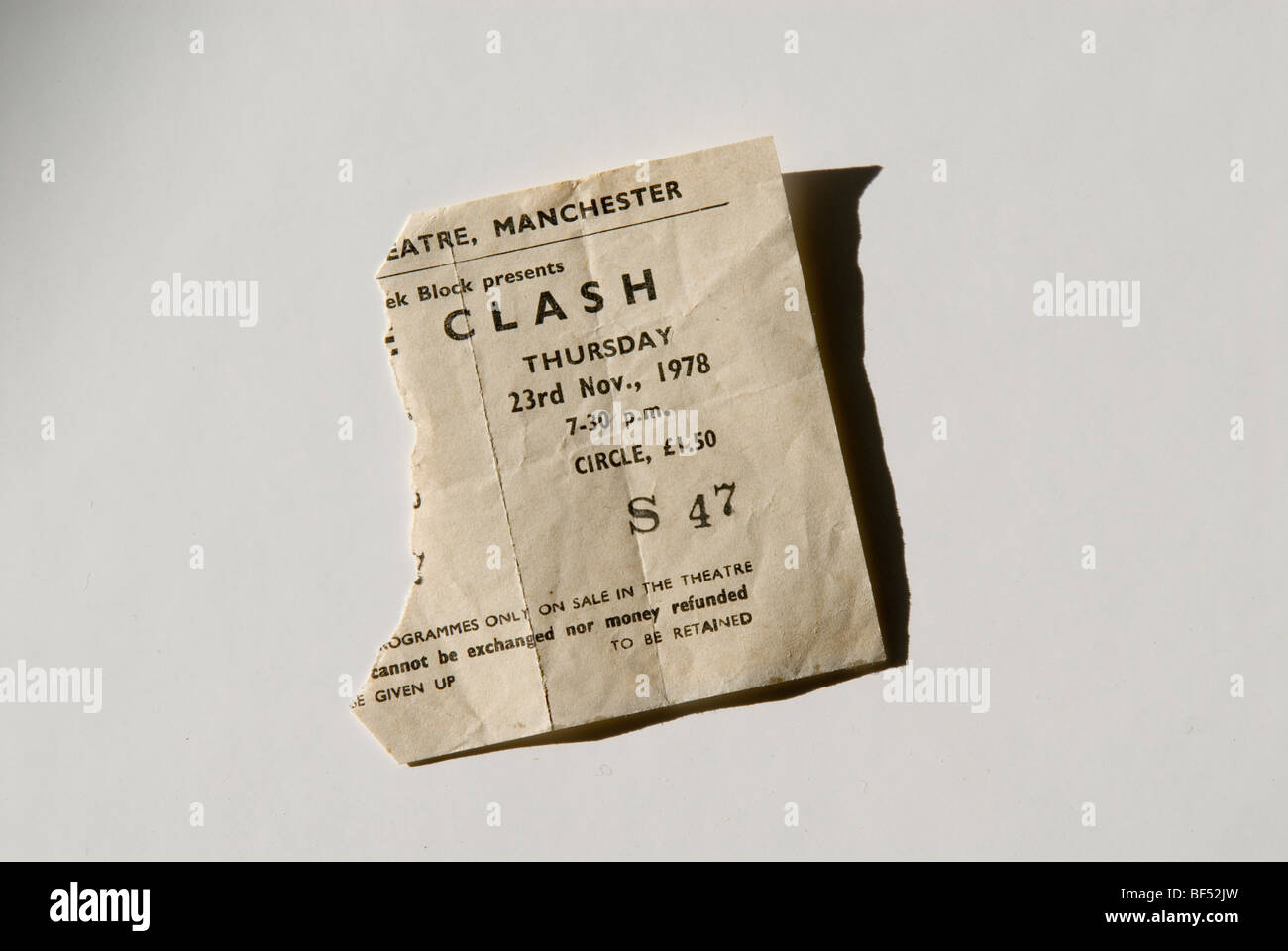 The Clash concert ticket, Manchester Apollo, 1978 - Stock Image