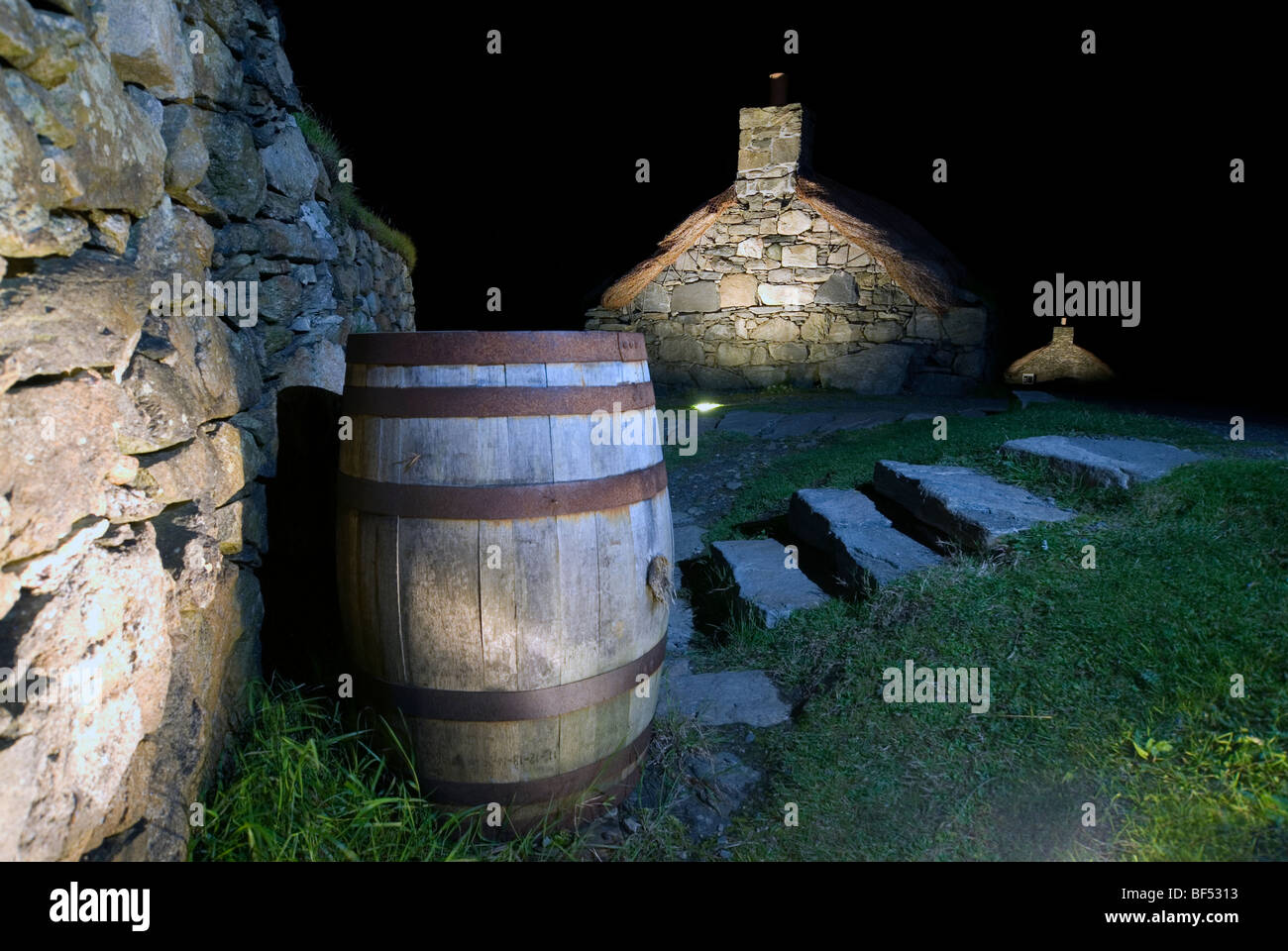 The Garenin Trust traditional Scottish Blackhouse at night on the Isle of Harris Western Isles Outer Hebrides Scotland Stock Photo