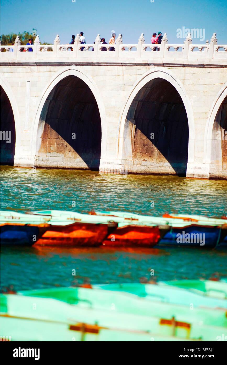 Seventeen-Arch Bridge, Summer Palace, Beijing, China - Stock Image