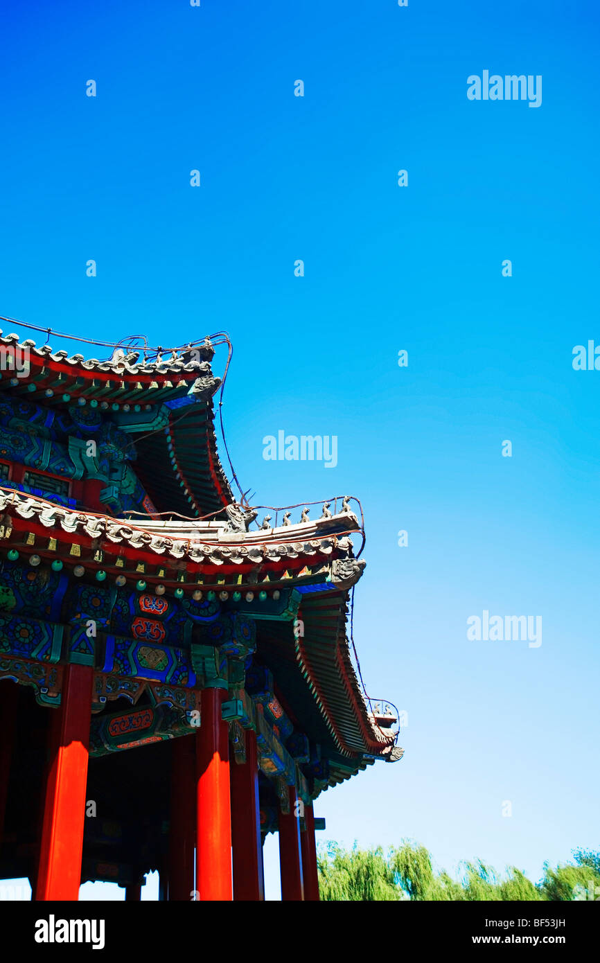 Roof details of Spacious Pavilion, Summer Palace, Beijing, China - Stock Image