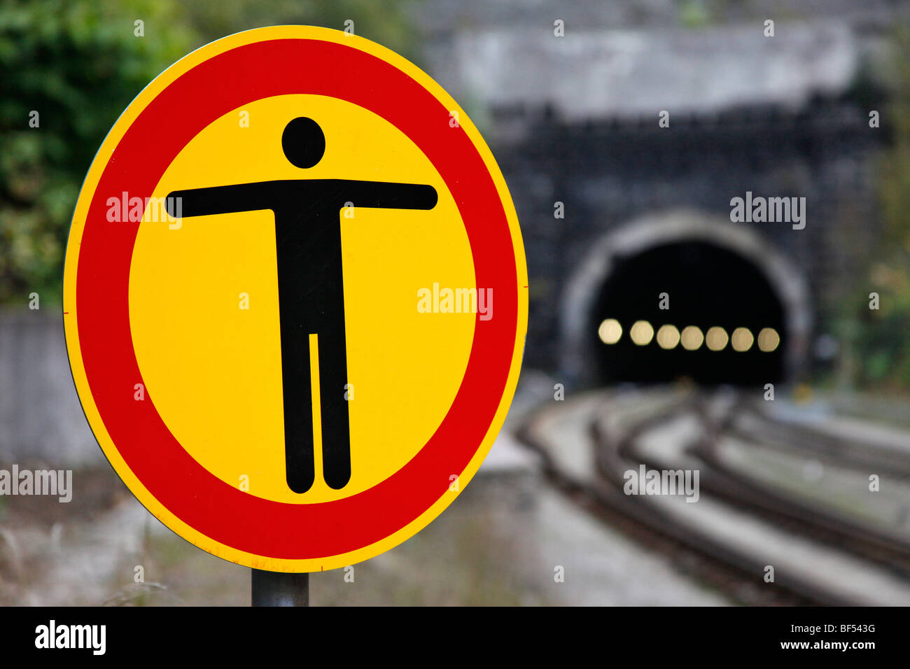 Sign with the warning symbol, No Entry, on Oberhof railway station, Thuringia, Germany, Europe - Stock Image
