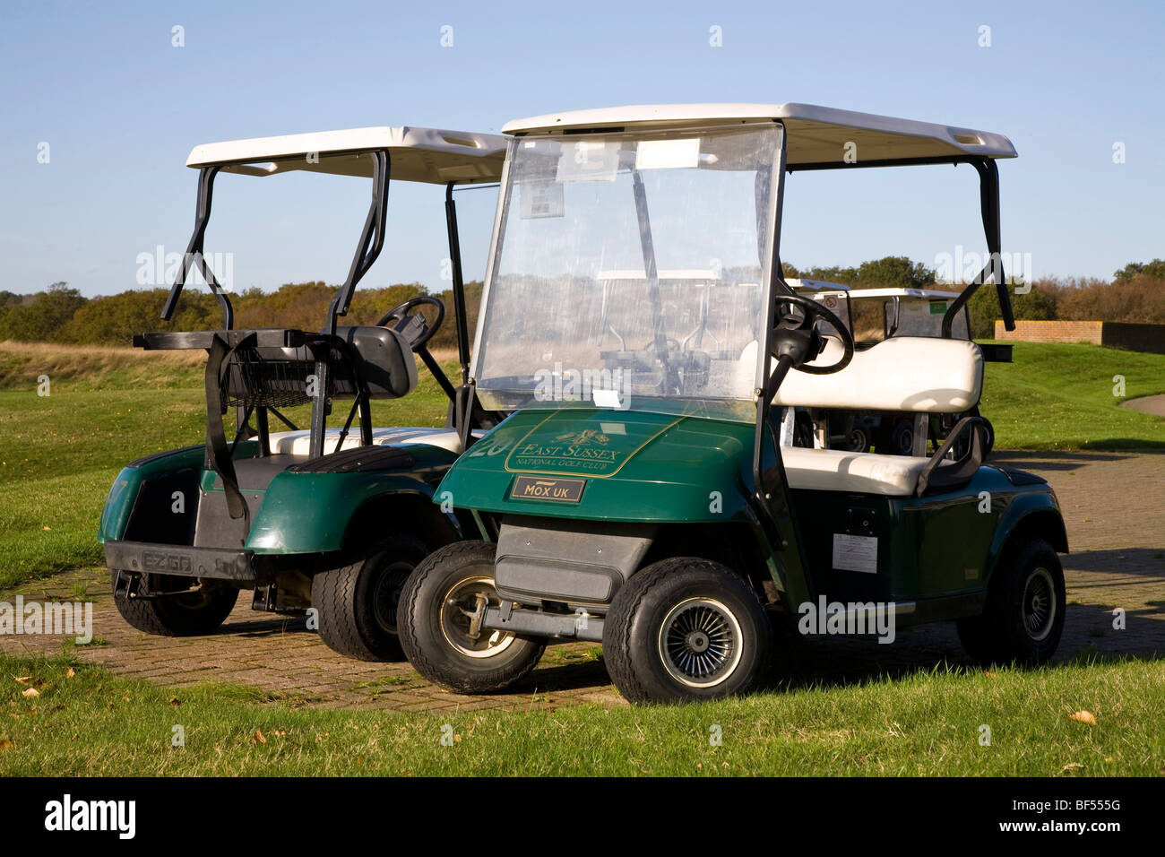 Golf carts parked up at East Sussex National Golf club - Stock Image