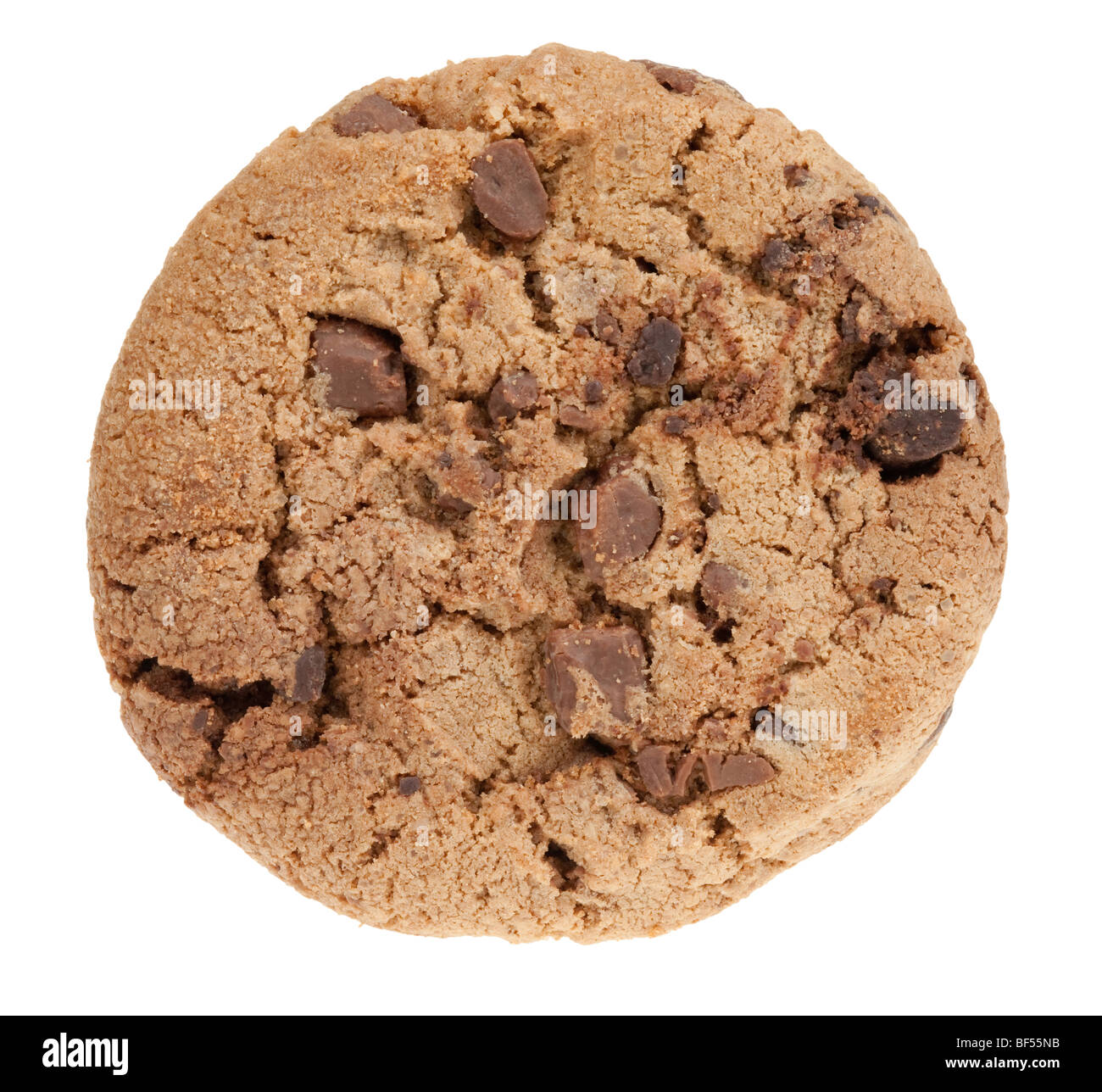 delicious chocolate chip cookie isolated on a white background - Stock Image
