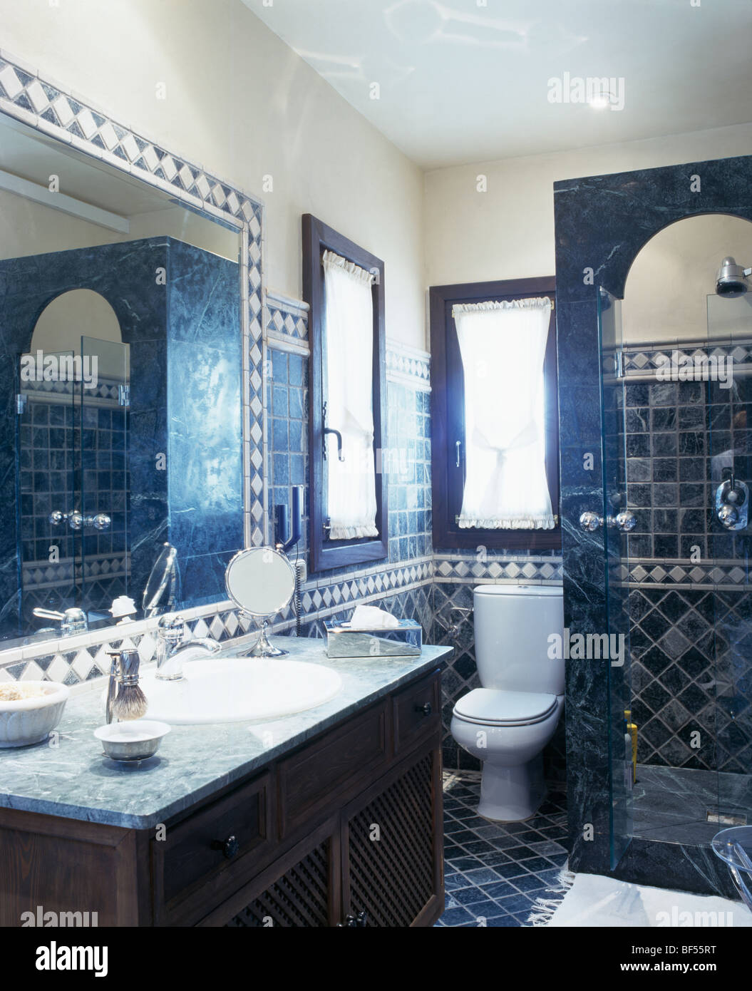 Traditional blue tiled Spanish bathroom Stock Photo: 26544556 - Alamy