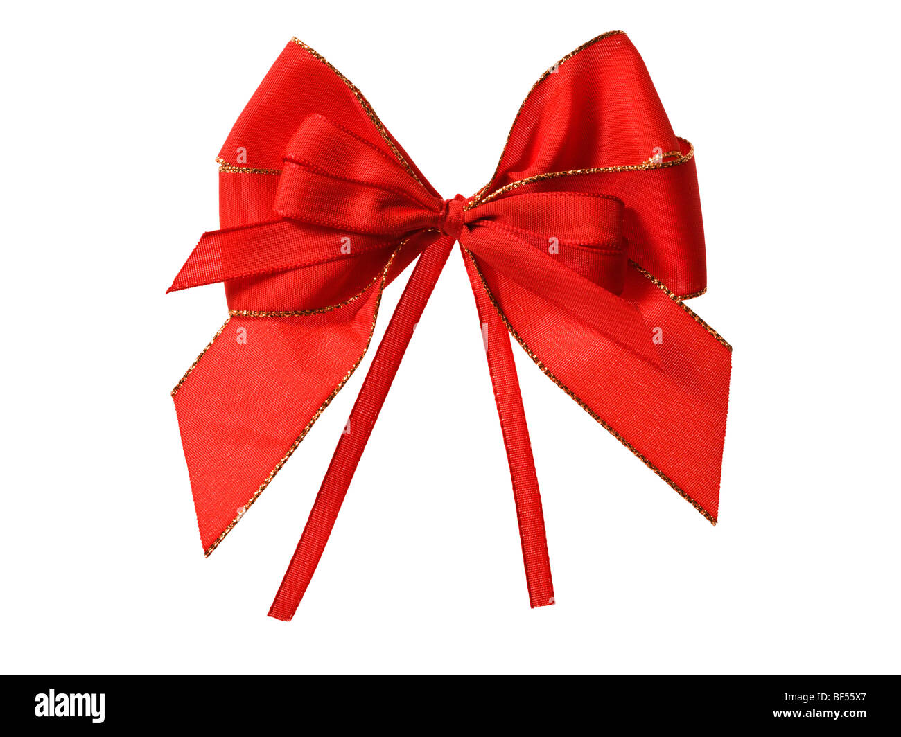 ornate red gift bow cutout Stock Photo