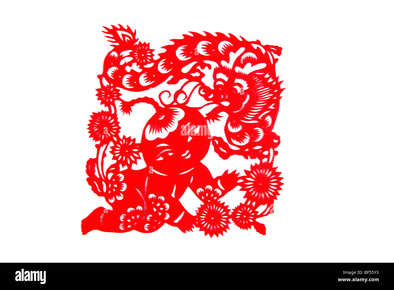 Paper Cutting piece with Chinese horoscope Dragon, Beijing