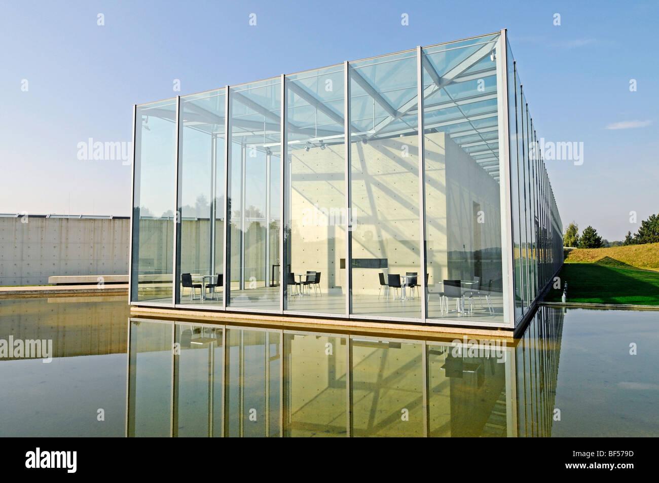 Glass, construction, modern architecture, pond, former missile base, art museum, Langen Foundation, architect Tadao - Stock Image