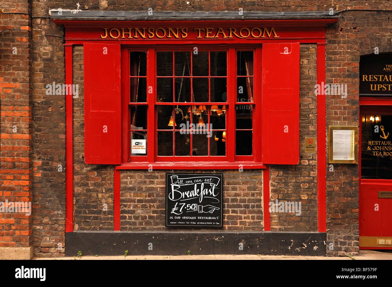 Window of Johnson's Tearoom, 34 Park Street, London, England, United Kingdom, Europe - Stock Image