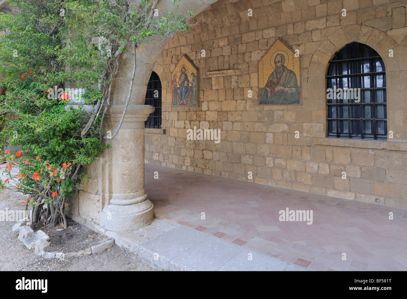 Reconstruction by Italians of the former convent of St. John, Filérimos, Rhodes, Greece, Europe - Stock Image