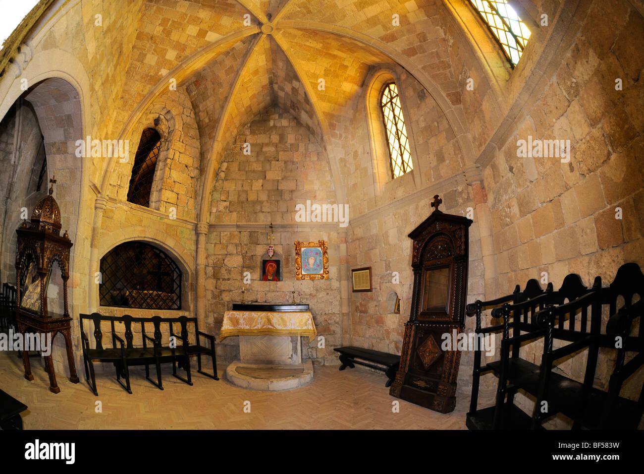 Knight's Church, reconstruction by Italians, Filérimos, Rhodes, Greece, Europe - Stock Image
