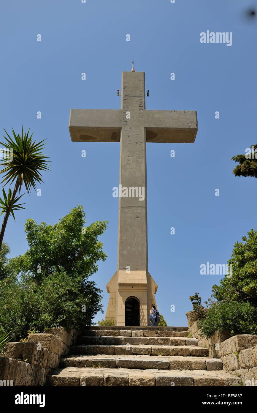 Concrete cross that serves as a viewing platform, Filérimos, Rhodes, Greece, Europe - Stock Image