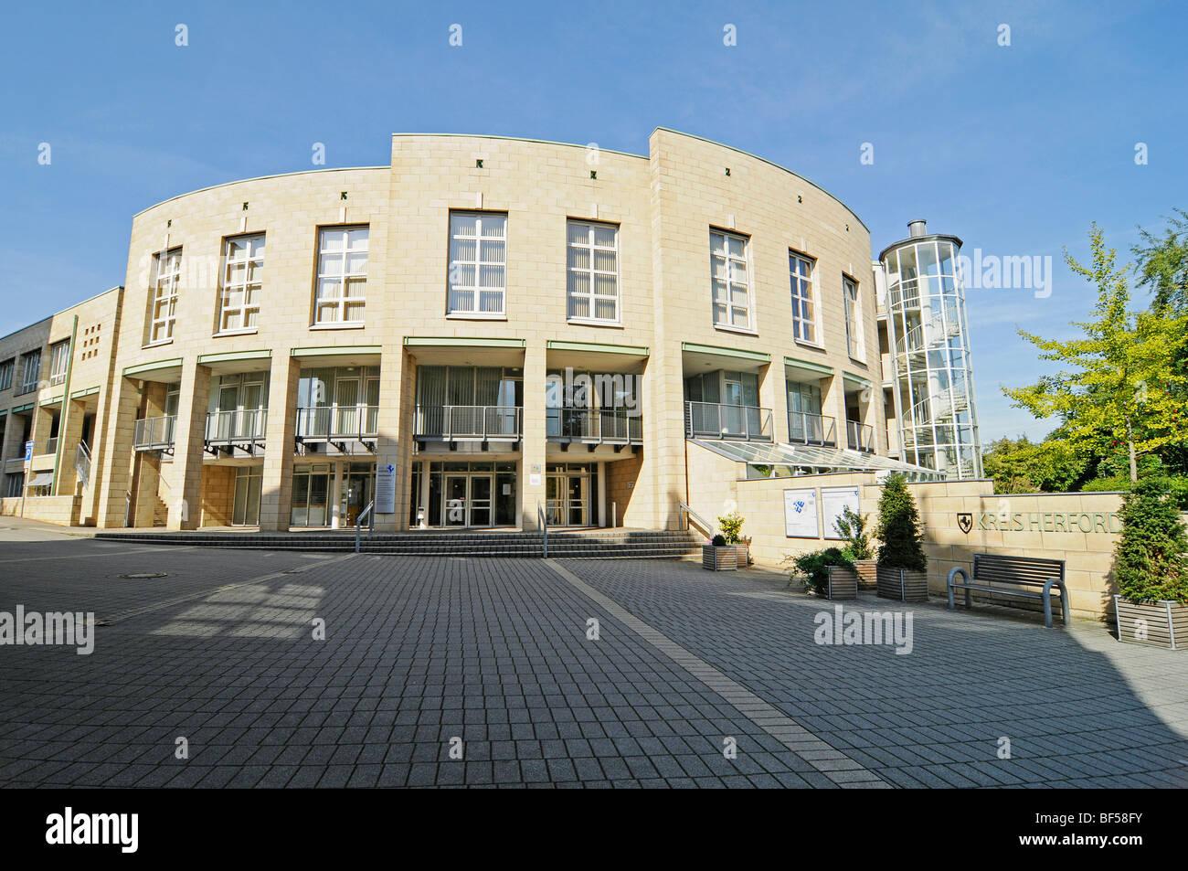 Local administration and management building, Herford, Eastern Westphalia, North Rhine-Westphalia, Germany, Europe - Stock Image