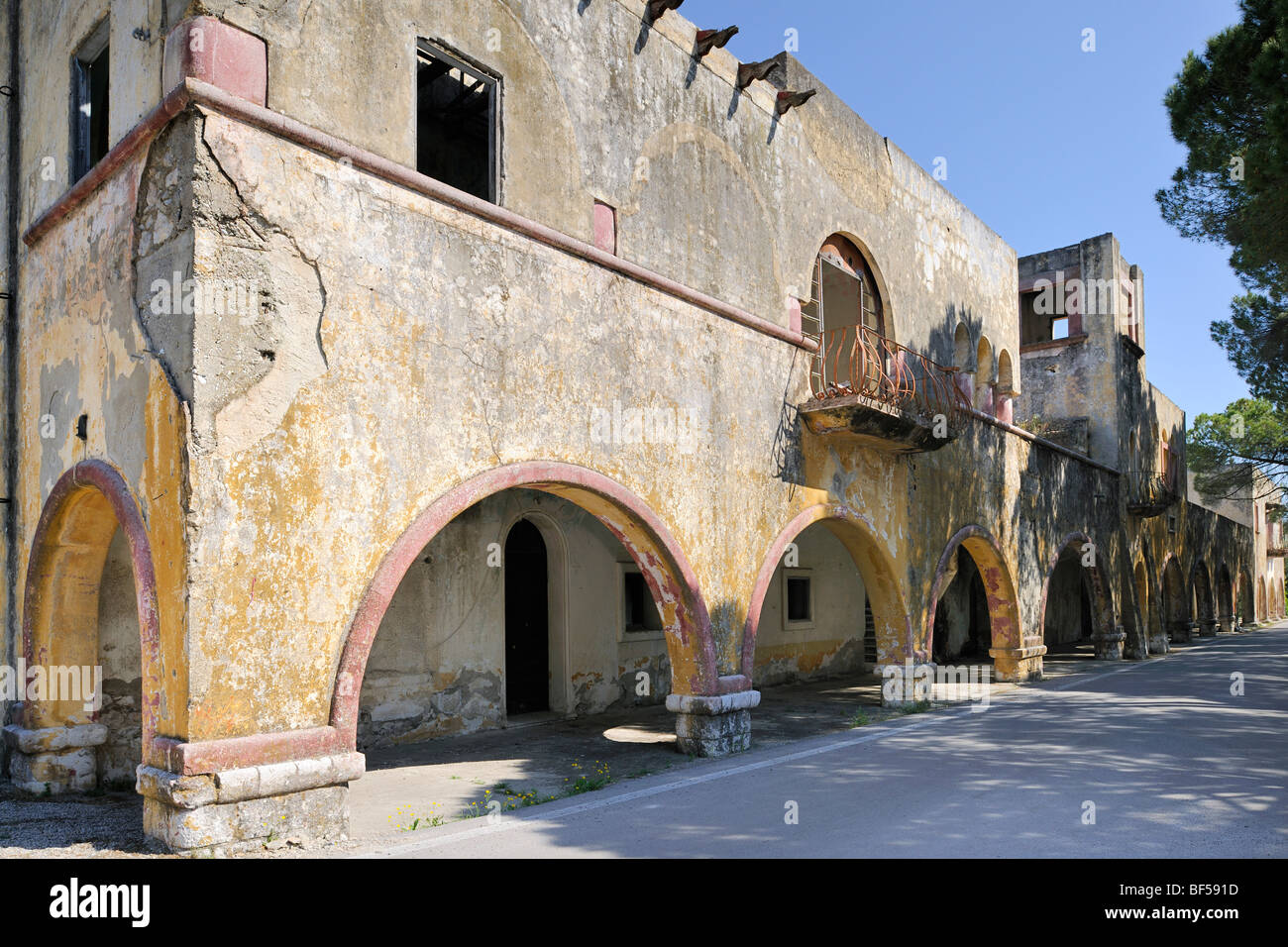 Dilapidated Italian palace of the governor, Eleoussa, Rhodes, Greece, Europe - Stock Image