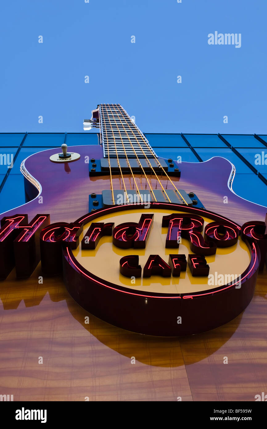 Guitar of the Hard Rock Cafe in Las Vegas, Nevada, USA - Stock Image