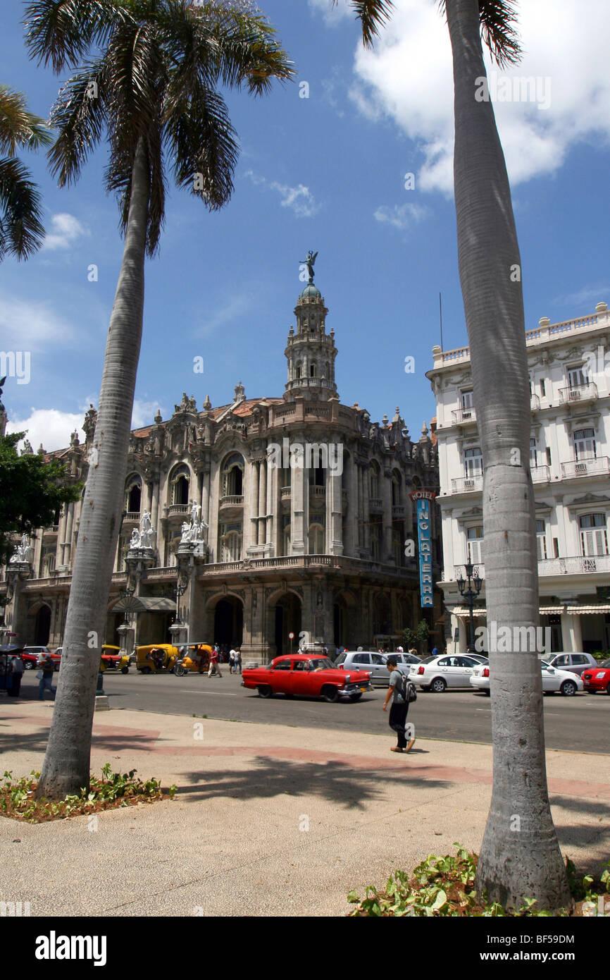 Gran Teatro Theatre and Hotel Inglaterra, Havana, Cuba, Caribbean, Greater Antilles - Stock Image