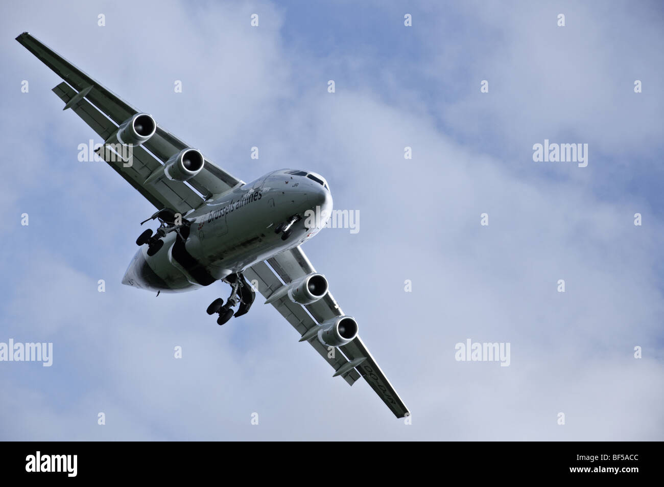 Brussels Airlines' BAe 146 coming in to land at Manchester Airport Stock Photo