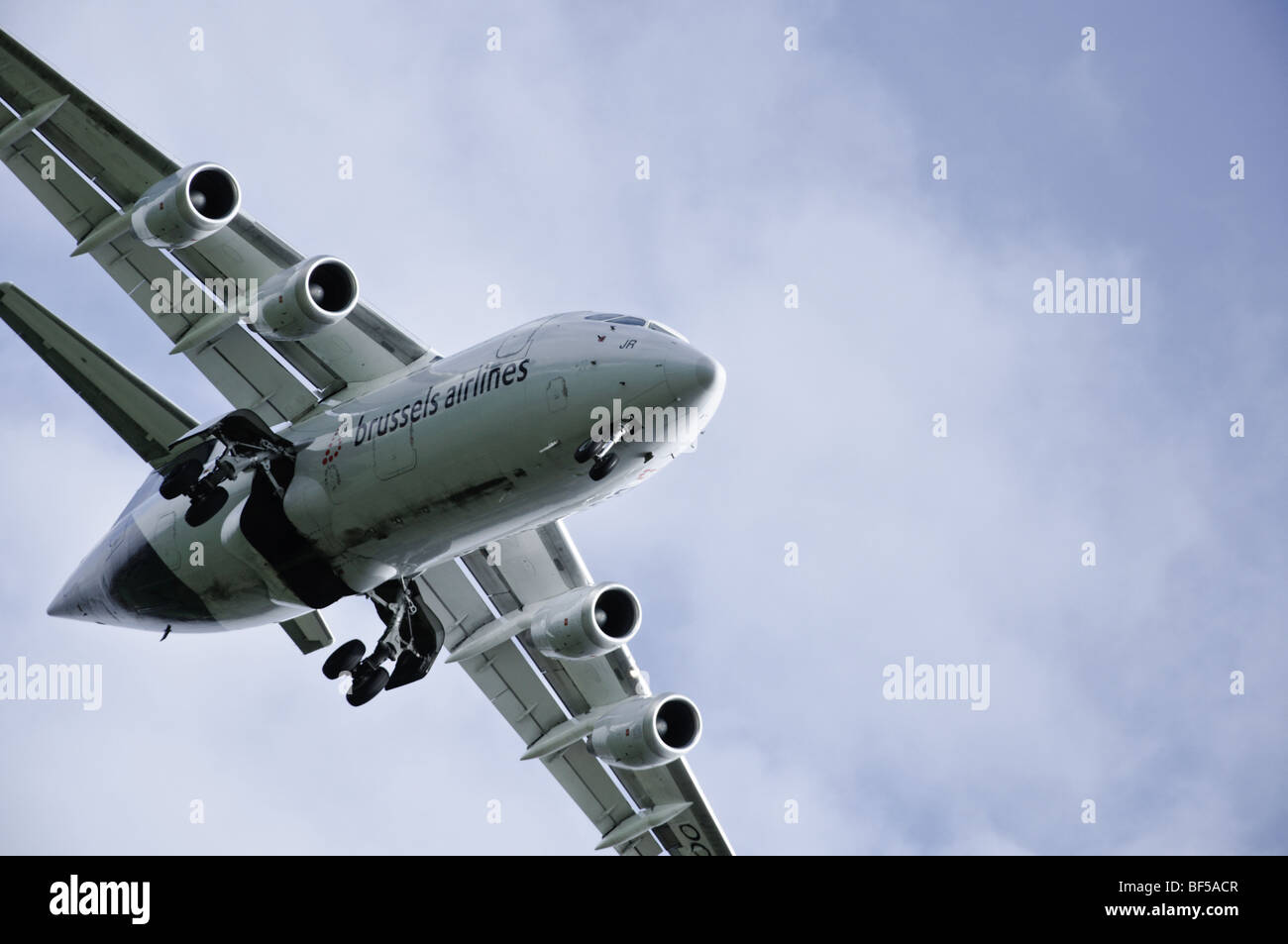 Brussels Airlines' BAe 146 coming in to land at Manchester Airport - Stock Image