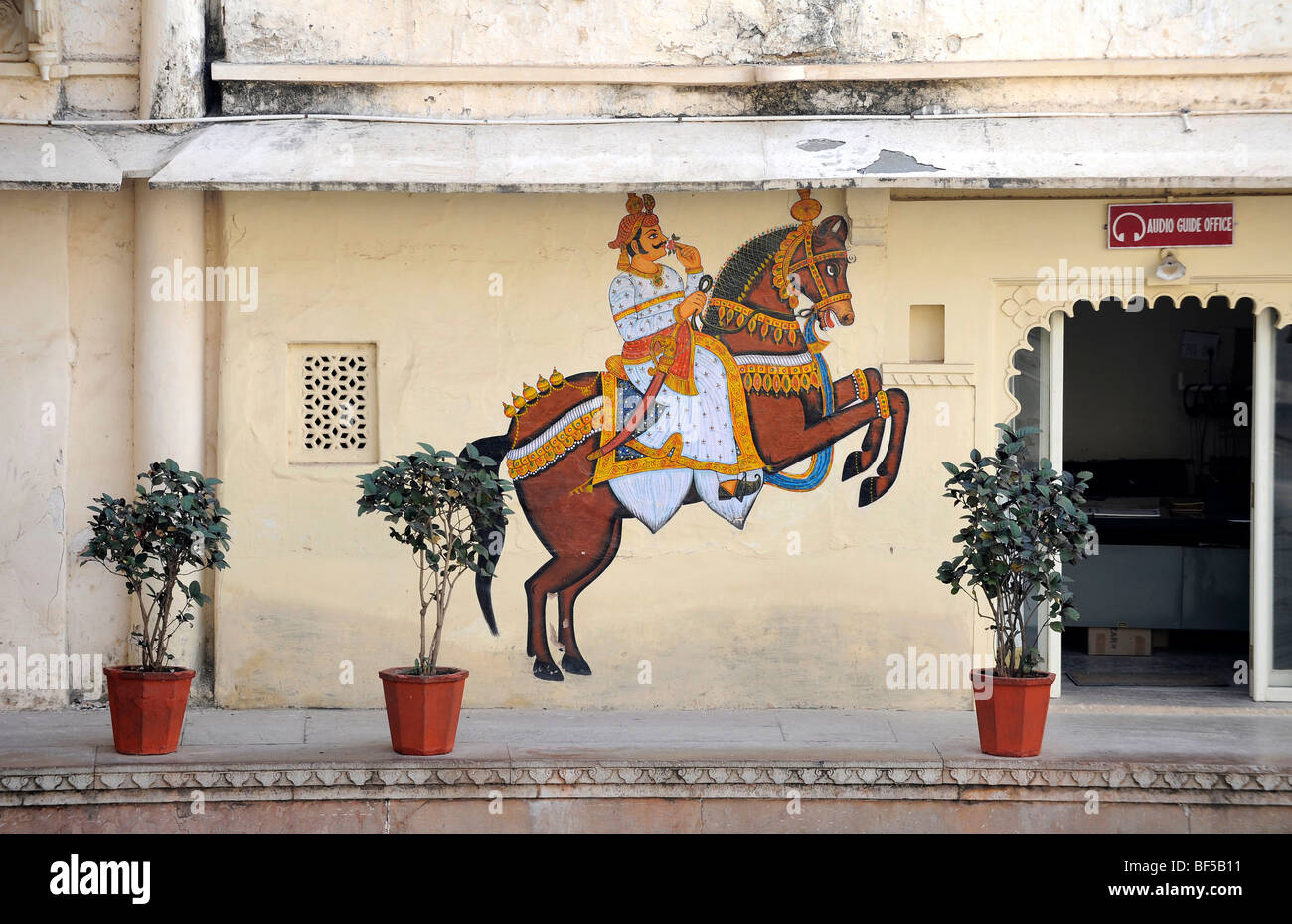 Mural of a horse with a rider, city palace, Udaipur, Rajasthan, North India, India, South Asia, Asia - Stock Image