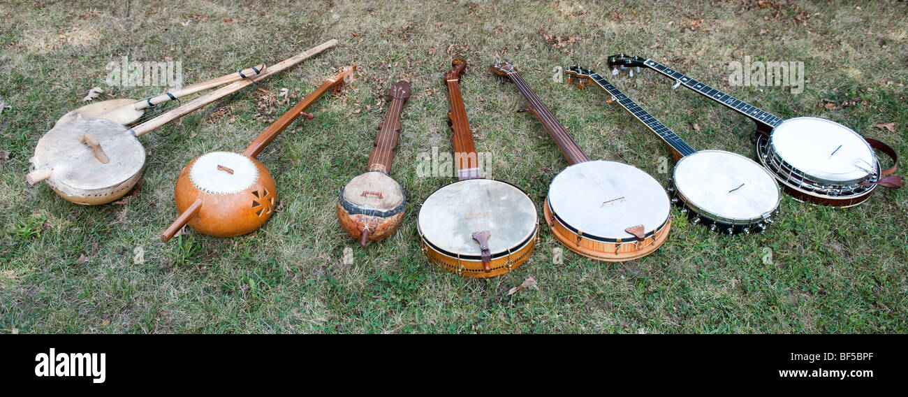 Collection of historic banjos - Stock Image