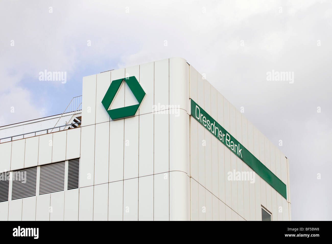 Dresdner Bank logo and signage on a commercial building, Duisburg, North Rhine-Westphalia, Germany, Europe - Stock Image